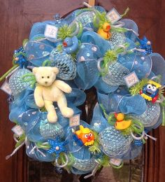 Welcome Baby Mesh Deco Wreaths | Baby Boy Wreath by HertasWreaths on Etsy