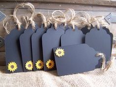 Chalk gift tags with sunflowers, perfect for wedding shower party favors.