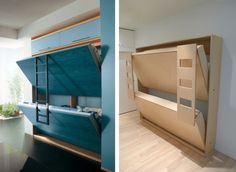 blue and wood pull down murphy bunk beds
