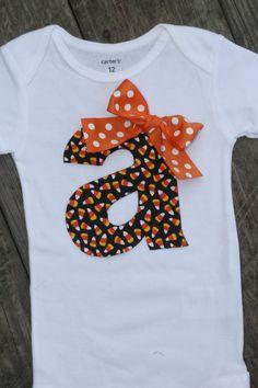 Halloween Onesie, Candycorn Onesie, Fall Onesie, Initial Onesie, Thanksgiving Onesie, Baby Girl Initial Onesie on Etsy, $21.99