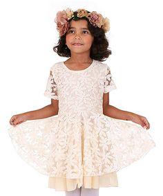 Look at this #zulilyfind! Ivory Floral Lace Dress - Girls #zulilyfinds