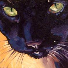 watercolor, bcat art, cat meow, sandi bcat, black cat
