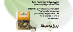 Enter the SweepstakesLovers.com Tea Sampler Giveaway presented by Mighty Leaf Tea for a chance to win a Mighty Leaf Tea Prize Pack consisting of one (1) Mighty Leaf World Flavors Sampler and a TeaTop commuter brew mug !