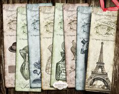 French Bookmarks - Digital Bookmarks - Paris - Digital Collage Sheet - Gift Tags - Printable Bookmarks - Instant Download