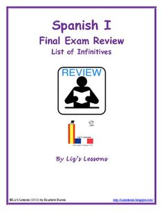 """FREE! This freebie includes a list of common Spanish I infinitives, and an answer key. If you like this activity, go to """"Spanish I Final Exam: Review and Rubrics"""" to get the full product."""