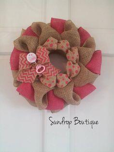 Burlap Wreath, Pink Wreath, It's A Girl, Baby Shower Decor, Baby Shower Wreath, Chevron Wreath, Gender Reveal Decor, Gift Idea on Etsy, $27.00
