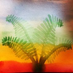 Wet on dry watercolor painting of ferns. Grade 5 botany Waldorf homeschooling. www.syrendell.com