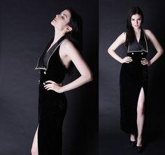 Black Velvet Dress  Velvet Cocktail Dress   Backless by aiseirigh, $128.00