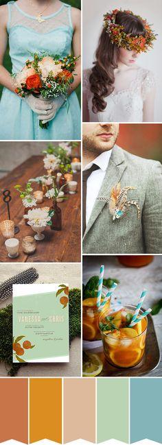 copper and aqua wedding inspiration | onefabday.com