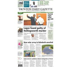 The front page of the Taunton Daily Gazette for Thursday, Aug. 14, 2014.
