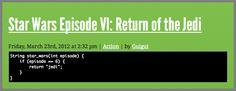 Star Wars Episode VI : Return of Jedi { as code }