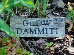"""Grow Dammit"" sign for the garden"
