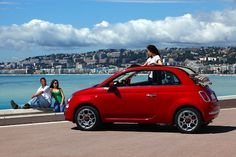 three friends, a red Fiat 500C, an amazing view. What else?