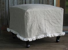 Ruffled Linen Slipcover for your Ottoman | Cottage and Cabin