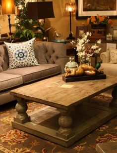 Fantastic reclaimed wood table with interested pillars