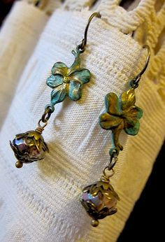 Leafy Green verdigris brass Flower and Bead drop by angelcake, $21.00