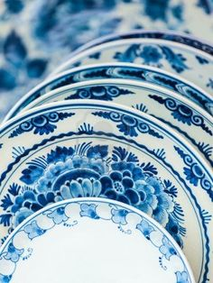 Ancient Dutch porcelain blue and white dishware from Delft.