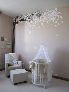 Perfect gender neutral nursery. Or... cute idea for any bedroom or office. wall art, nurseries, wall decals, babies nursery, gender neutral, tree murals, falling leaves, wall design, babies rooms