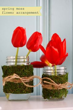 Moss on jars...love this for spring arrangements!