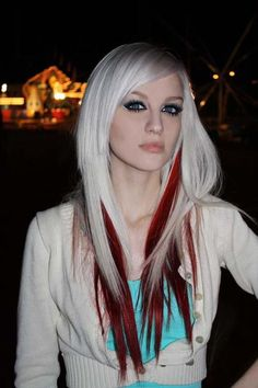 white hair, color combo, hair colors, red hair, makeup, long hair, blondes, beauti, red highlights