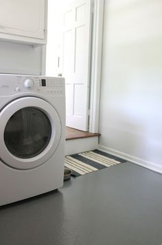 Create an easy clean zone in your laundry room or mudroom with porch paint. It's simple & inexpensive.