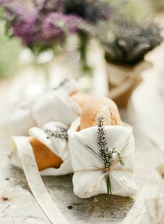 Individually wrapped bread for guests