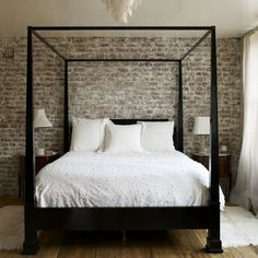 bed frames, dream, bedroom walls, canopy beds, bricks, white bedding, exposed brick, four poster beds, accent walls