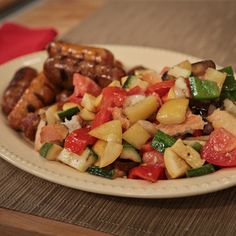 Michael Symon's Grilled Sausage And Vegetables - the chew - ABC.com