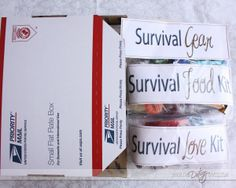 """I don't know which board to put this on!! It's a care package, but it's also a """"Date Night in a Box."""" --Long Distance Date Night :)"""