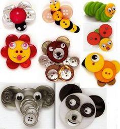 button flowers, button art, hair clips, accessori, button crafts, buttons craft, little animals, craft ideas, kid