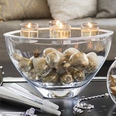 Elegant DIY centerpiece with golds, silvers, whites, candles, fillers, ornaments, sparkles. Perfect idea for New Years!  Clearly Creative™ Elevated Votive Centerpiece by PartyLite® Candles