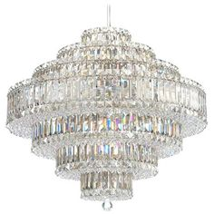 """Schonbek Plaza Collection 27 1/2"""" Crystal Pendant Chandelier-- oooh baby! crystals, plaza collect, 25inchh schonbek, schonbek crystal, pendants, 27 12, chandeliers, master bedrooms, crystal pendant"""