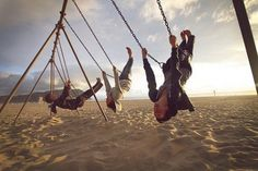 swing sets, beaches, life, swings, at the beach