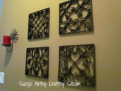 Faux Metal Wall Art/Suzys Artsy Craftsy Sitcom #crafts #diy #recycle #wall art
