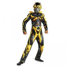 The Transformers Bumblebee Classic Muscle Costume is a detailed Transformers jumpsuit with robotic graphics and padding to resemble the robot's powerful, muscular physique.