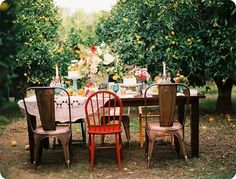 table settings, chair, mix match, alice in wonderland, dinner parties, orchard, garden parties, backyard, outdoor eating