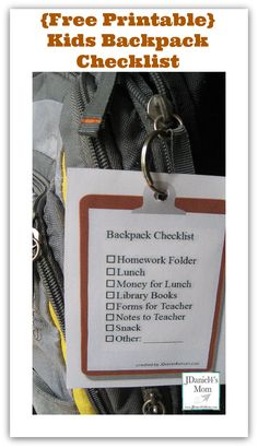 Kids Backpack Checklist- Free printable to download #backtoschool