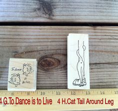 Wood RUBBER STAMPS Scrapbooking Cat's Dance to by Thriftnstyle