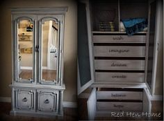 Gray armoire makeover. Add mirrors, stencil drawers
