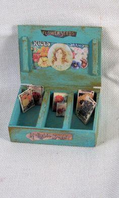 Dollhouse Miniature Seed Box- Turquoise