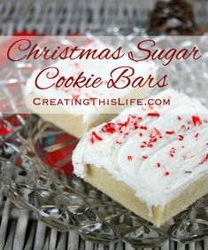 Christmas Sugar Cookie Bars with Peppermint Sprinkles - Creating This Life