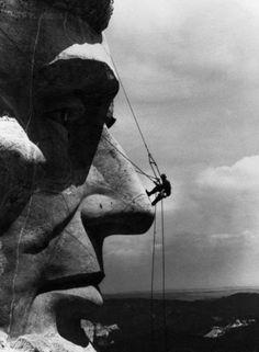 Rappelling Lincoln - Mt. Rushmore, ca. 1936