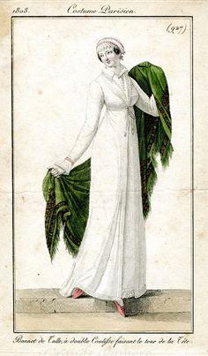 Green shawl. Costume Parisien 1808