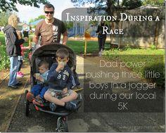 inspiration during a race, triple jogger, running rachel