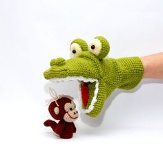crochet alligator hand puppet and 3 monkeys finger puppets, amigurumi animals, autumn toys  Adorable fairy tale puppets from shop