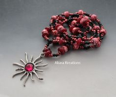 ‪#‎HEPTEAM‬  Star - Beaded Sun Necklace - 29.9 Inches - Spiritual Fire Flame - Red Black - Seed Beaded - Solar - Leo Aries Mars Sagittarius. $24 https://www.etsy.com/listing/204384049/frank-noel-star-beaded-sun-necklace-299?ref=listing-shop-header-0