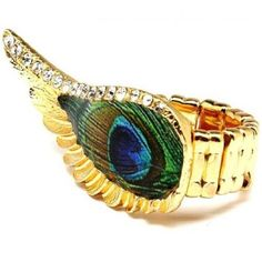 Amazon.com: Peacock Feather Ring BIG Wing Stretch Gold Tone 2 in by .75 in Fashion Jewelry: Jewelry