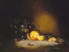Silver & Oranges by Christine Hooker Oil ~ 12 x 16