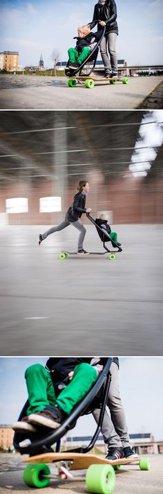 cool longboards, baby strollers, stuff, product design, best stroller, longboard stroller, cool mom, future kids, awesom
