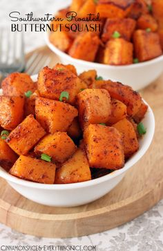 Southwestern Roasted Butternut Squash {with a great tip on cutting up squash - no more fighting with it}. Vegan.